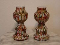 Victorian Antique Art Glass Bohemian Peacock Pattern Pair of Posy Vases