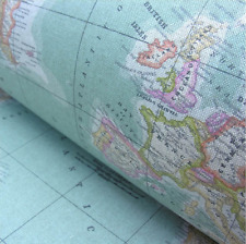 WORLD MAP 2 Globe Atlas Furnishing Fabric Cotton Material 280cm wide SKY BLUE
