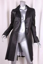 NIGEL PRESTON & KNIGHT Womens Black Lambskin Leather Bow Back Coat Jacket M