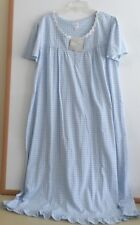 NWT ARIA LONG NIGHTGOWN-SIZE 1X-SHORT SLEEVE-BLUE FLORAL PRINT-$60-BEAUTIFUL!