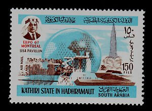 ADEN   KATHIRI-HADHRAMAUT   MICHEL#165 MNH  EXPO 1967 MONTREAL TOPICAL
