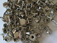 Solid brass nickel plated single cap rapid rivets 9 mm cap 100 pair
