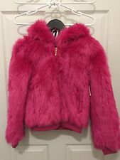 New Juicy Couture Girls Fur Bomber Hooded Jacket, Electric Berry, Size 12