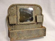 Antique metal brush comb Vanity Holder Mirror vintage embossed tin