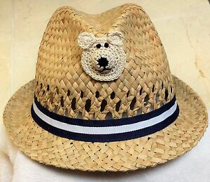 NEW TAN STRAW FEDORA HAT BOYS INFANT TODDLER 6 9 12 18 24 MONTHS 2T 3T 4T 5T