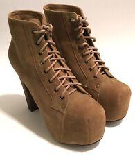 Jeffrey Campbell Lita Women's Sz 6.5 Tan Suede Platform Lace Up Ankle Boot Shoes
