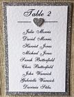 Diy Wedding Table Seating Plan Cards - Raised Hearts And Glitter Backing Card