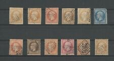 France 1860s VINTAGE Napoleon  - 12 stamps  - Used - see scan