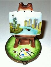 LIMOGES BOX -NEW YORK CITY PAINTING ON AN EASEL- TWIN TOWERS & STATUE OF LIBERTY