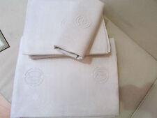 ancienne nappe 12 serviettes monogramme CM brodé damassé etoiles tressage ajouré