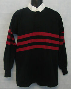 """Boys Stripe Rugby Shirt Polo Long Sleeve Sport Top Sz 36"""" Chest Black/Red #A211"""