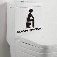 DOWNLOADING Removable Waterproof Funny Toilet Seat Decal Vinyl Sticker Black