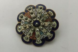 RARE ANTIQUE FRENCH ENAMEL AND CUT STEEL BUTTON FAIR CONDITION 3.25CMS (3380)
