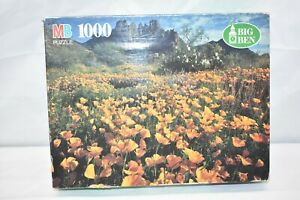 Vintage MB Big Ben 1000-Piece Puzzle Field of Golden Poppies Ajo Mountains