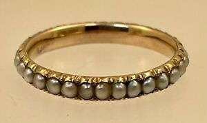 Georgian Era Gold & Seed Pearl Eternity Band Ring