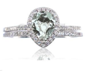 Drop Cut Aquamarine Engagement Wedding Clear CZ Genuine Sterling Silver Ring Set