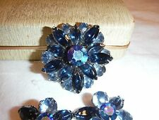 VINTAGE BEAU JEWELS BROOCH AND EARRINGS SET SHADES OF BLUE JEWELRY BOX G