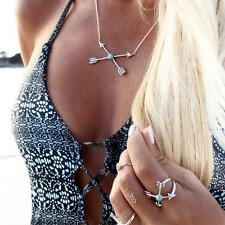 Lovely Bohemian Ethnic Silver Natural Turquoise Arrow Pendant Choker Necklace BY