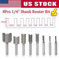 8pcs Router Bits for Wood Working Milling Cutter Engrave 1/4 inch Shank