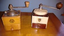 2 OLD FRENCH MANUAL (PEUGEOT SURM) COFFEE GRINDER IRON AND WOOD  MADE IN FRANCE
