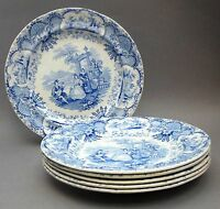 Set of 6 ~ 19thC Blue & White PLATES ~ Spanish Beauties ~ Antique Staffordshire