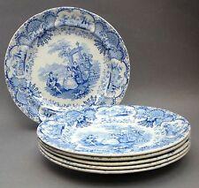 Set of 6 ~ 19thC Blue & White PLATES ~ Spanish Beauties ~ Antique Staffordshire