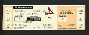 Mark McGwire HR #70 Sets Single Season Record Ticket 9/27/1998 Cardinals v Expos