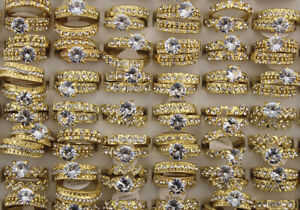 50Set Job Lots Mixed Clear Rhinestone Cubic Zirconia Rings 2 In 1 Wholesale Ring