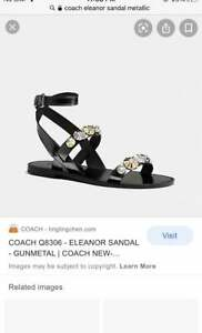 Coach Eleanor Sandal Women Size 9~Black~MSRP $245~NEW