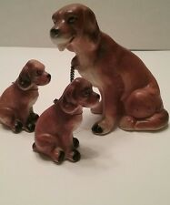 Vintage Dog Figurines Mama Dog with 2 Puppies on chains Collectible