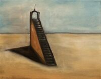 "Original Oil Painting Surrealism Art Landscape Stair Way 8x10"" Canvas Signed"
