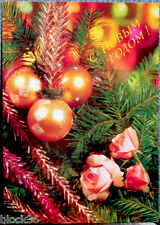 1991 Russian postcard HAPPY NEW YEAR!  CHRISTMAS DECORATIONS AND ROSES