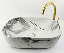 Ceramic Vanity Basin CALACATTA Marble Countertop - 505 x 405mm MATTE Grey White