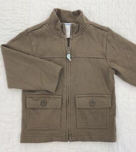 Janie and Jack 4t Boys Brown Zippered Sweatshirt Jacket - EUC