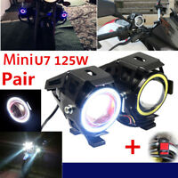 2X U7 Angel Eyes Light 125W Phare De Moto LED Brouillard Projecteur+Commutateur.
