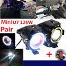 2X U7 Angel Eyes Light 125W Phare De Moto LED Brouillard Projecteur+Commutateur