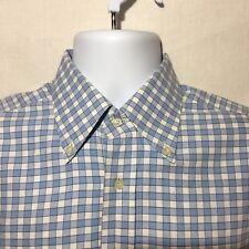 Lacoste Men's Size 40 Regular Fit Button Down Shirt Blue White Plaid/Check
