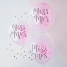 5 TEAM BRIDE BALLOONS MISS TO MRS PINK CONFETTI HEN PARTY ACCESSORIES DECORATION