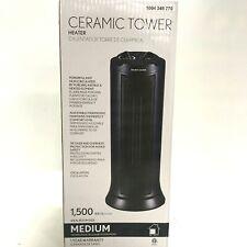 OSC Space Heater 1500-Watt Electric Ceramic Tower Oscillation Black PSC17M2ABB