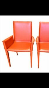 FRAG ultra modern Italian Red Leather Chairs