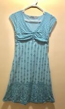 Athleta Dhara A-line Dress Womens Size XS Teal Blue V-Neck Cap Sleeve Athleisure