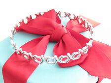 "Tiffany & Co Silver Picasso Hugs Kiss XO Bangle Bracelet Medium 7.5"" Wrist"
