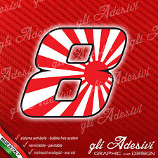 Adesivo Stickers NUMERO 8 moto auto cross gara JAPAN 5 cm