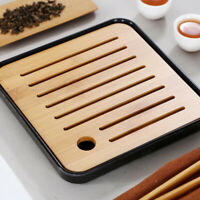 Square Melamine Bamboo Tea Tray Drainage Water Storage Kung Fu Tea set