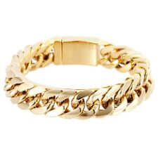 Men's Heavy Solid Stainless Chunky Bracelet Cuban Curb Link Chain Gold 14mm Gift