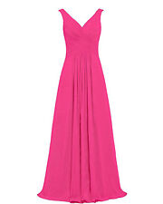 Prom Dresses Long Chiffon Formal Gowns Bridesmaid Evening Dress V Neck Lace Up