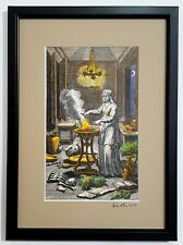 Witch magician casting a spell from 18th Cent engraving - painted by Adam McLean