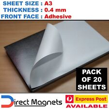 20 x A3 Magnetic Magnet Sheets ( Adhesive Front ) LARGER THAN A4 SIZE !!