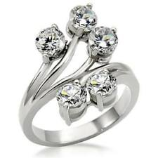 Ladies sparkling ring cz stainless steel silver solitaires 5 stone pretty 001
