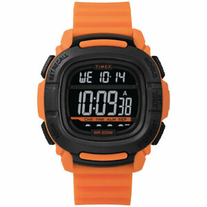 Timex Men's Watch Command Digital Black Dial Orange Rubber Strap TW5M26500